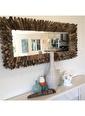 Warm Design Odun Parçacıkları Ayna  Renkli